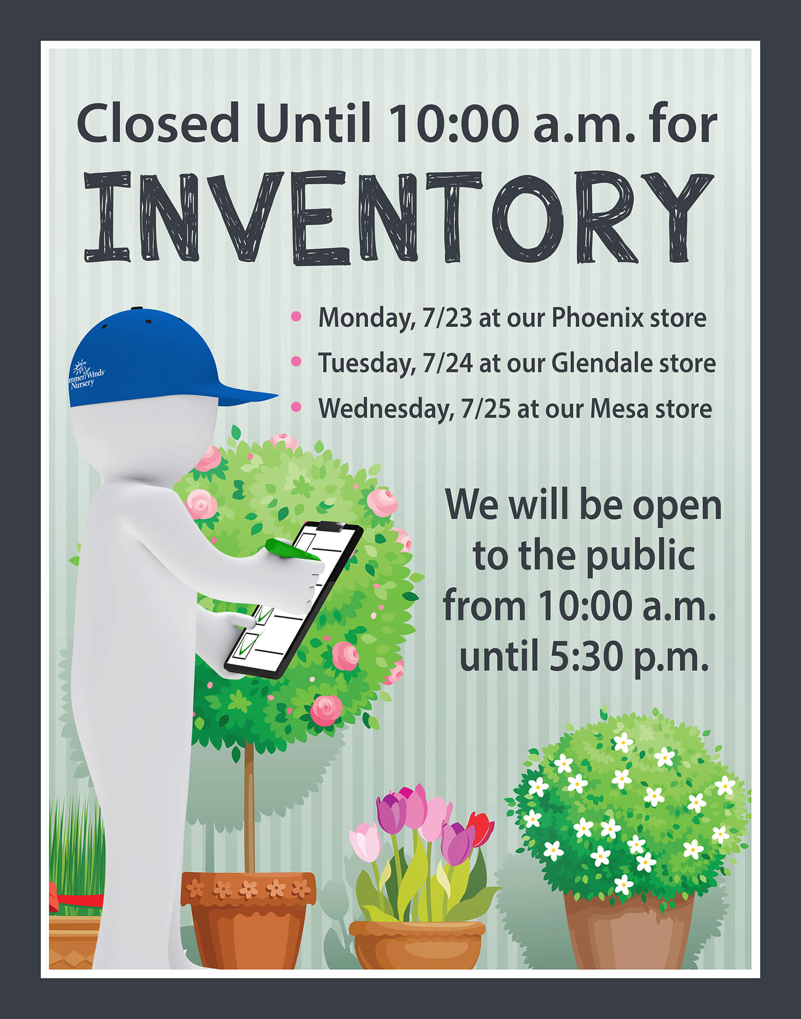 Special Inventory Hours By Location Date 7 23 25